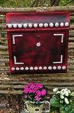 Vintage-Briefkasten, Retro Edelstahl stylisch cool lackiert, Rostschutz-grundiert Runddach ro/at grün rot anthrazit schwarz mit silbernen Nieten vintage alt antik klassisch bejahrt old-fashioned classic althergebracht Zeitungsfach Zeitungsrolle Postkasten NEU