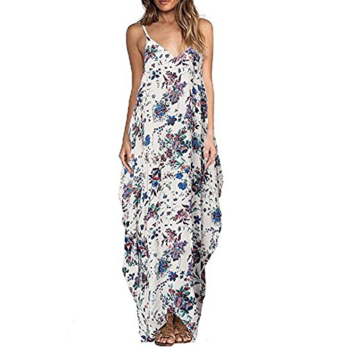 Women Summer Dress Boho Loose Casual Sling Long Evening Party Beach vestidos (UK14/TagXL, Style2#)