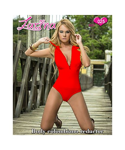 FARINA® 025 Damen Ärmellose Jumpsuit Bodysuit Figurbetont Stretch Oberteile Rot