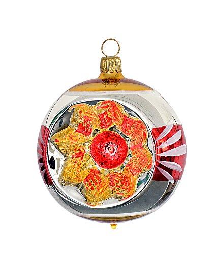 Thüringer natale 52-076 christ albero sfera con reflex, 8 cm, nostalgia-stil rosso/oro, 2 pcs