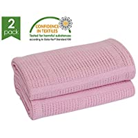 Bloomsbury Mill - Twin Pack - 100% Pure Cotton - Extra Soft Cellular Baby Blankets - Pram/Travel/Moses Basket - Pink