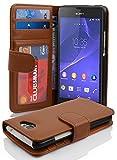 Cadorabo Hülle für Sony Xperia M2 - Hülle in COGNAC BRAUN – Handyhülle mit 3 Kartenfächern - Case Cover Schutzhülle Etui Tasche Book Klapp Style