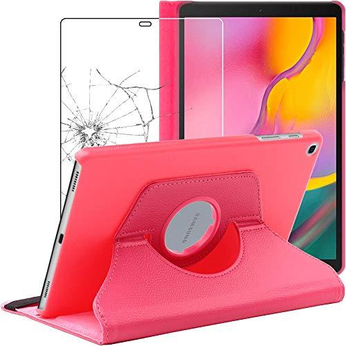 ebestStar - kompatibel Samsung Galaxy Tab A 10.1 Hülle 2019 T515 Rotierend Schutzhülle Etui, Schutz Hülle Ständer, Rotating Case Cover Stand, Pink + Panzerglas Schutzfolie [Tab: 245x149x7.5mm, 10.1