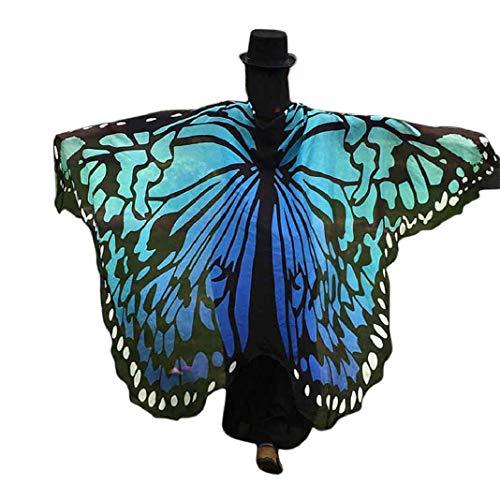 Kostüm Blume Nymphe - URSING Frauen Schmetterling Flügel Schals Nymphe Pixie Poncho Kostüm Verkleidung Zubehör für Show/Daily/Party, Damen Schöner Chiffon Schmetterlingsflügel Schal (197 * 125CM, Blau*Chiffon)
