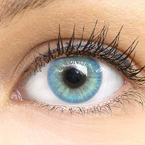 """Sehr stark deckende und natürliche blaue Kontaktlinsen SILIKON COMFORT NEUHEIT farbig \""""Jasmine Blue\"""" + Behälter von GLAMLENS - 1 Paar (2 Stück) - DIA 14.00 - mit Stärke -1.75 Dioptrien"""