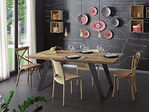 Legno&Design Table rectangulaire Cuisine séjour Bois Massif aulne ciré Jambes en Fer