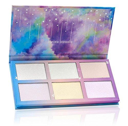 TZ Cosmetix - Aurora Borealis 6 colori illuminante viso make up palette - Polvere dalla texture morbida illuminare contorno del viso - Tavolozza duochrome illuminante tz-6fb