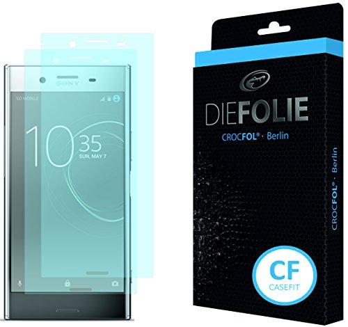 Crocfol Bildschirmschutz für Sony Xperia XZ Premium: 2x DIEFOLIE Schutzfolie, 1x DASFLÜSSIGGLAS flüssiges Glas - Casefit Folie, Nutzung mit Schutzhülle
