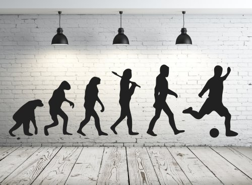 Wandtattoo 68165-58×18 cm, ~ Männer Evolution Affe, Fussball ~ fürs Kinderzimmer, Jungen Wandaufkleber Wandtatoos Sticker Aufkleber für die Wand, Fensterbild, Tapetensticker, Türaufkleber, Tattoo