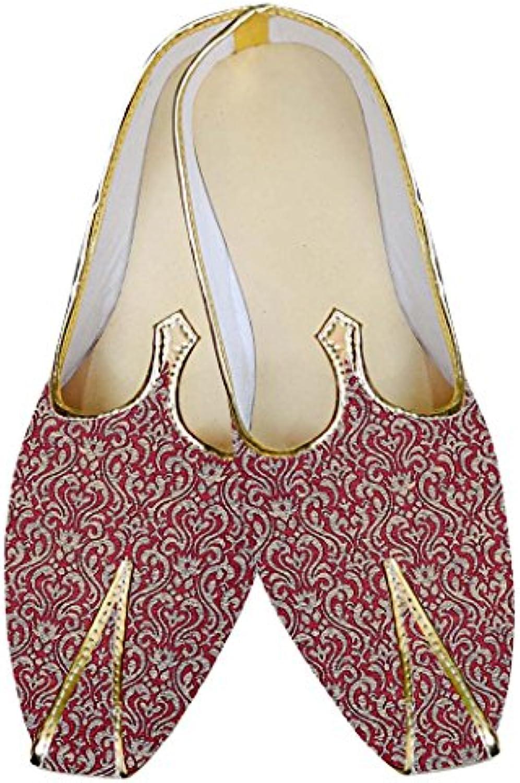 INMONARCH Borgoña Hombres Boda Zapatos Lujoso MJ015033