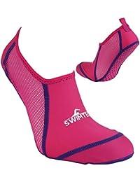 Swimtech pies pie protección transpirable antideslizante suela piscina calcetines, rosa, J10-13