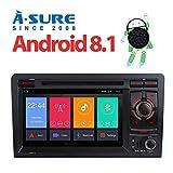A-SURE 2GB RAM Android 8.1/8.0 Autoradio DVD GPS Auto Navigation Mirrorlink WiFi WLAN BT 4G LTE OBD2 DAB+ DVB-T2 USB SD Navi Lenkradsteuerung Für Audi A3 2003-2011 S3 RS3 (KUA3SJ)