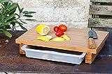 cleenbo® bamboo XL Schneidebrett mit verschiebbarer Auffangwanne Bambus 400 x 290 x 70 mm