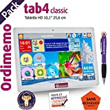 Tablette Senior ORDIMEMO TAB4 Pack 2/32 Go 10,1' 1280x800 Blanc WiFi+Coque Prune+Stylet