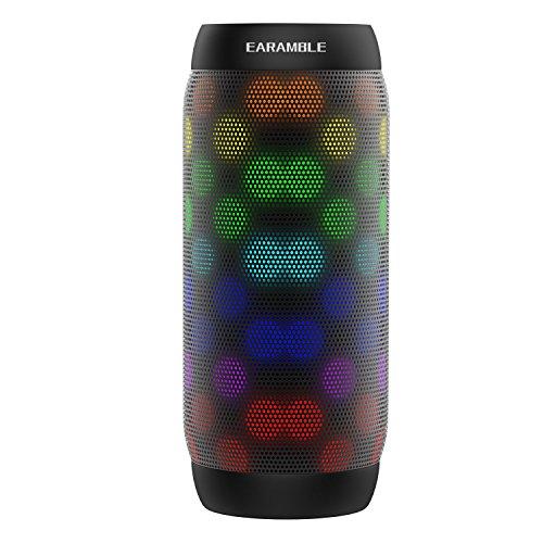 Earamble LED Bluetooth Lautsprecher,10Watt, Portable, Bluetooth 4.2, Hifi Stereo Sound, Wasserdicht Spritzwassergeschützt, eingebautes Mikrofon,Kompatibles Telefon, Laptop, Mp3, Computer(schwarz)