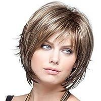 Nuovo affascinante sintetico bellezza breve moda pallido biondo straniero commercio mix di colore parrucche per donne naturali come veri capelli per partito/Fancy Dress/Dating