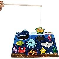 jerryvon Juego de Pesca Juguetes de Madera y RompecabezasMadera de Animal del Océano Juguete Educativo Juguete Bebe Niños