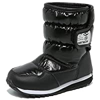 HOBIBEAR Kids Winter Snow Boots Waterproof Outdoor Warm Faux Fur Lined Shoes with Velcro (12.5,Black)