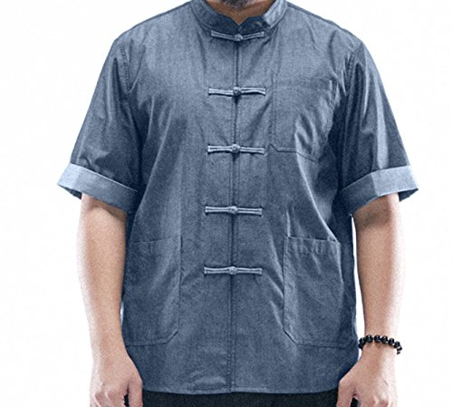 Sommermänner Lose Stehkragen Plattenknöpfe Kurzarmhemd XL T-Shirt Kunst Blue