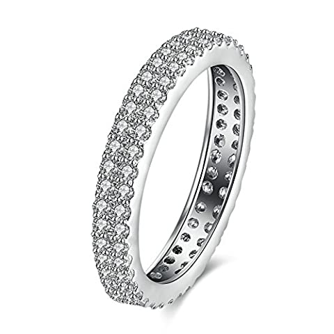 SanJiu Jewelry Women's Wedding Rings Round Platinum Plated Ring with Two Rows CZ Cubic Zirconia Promise Anniversary Engagement Charm Ring for Women Silver Size R