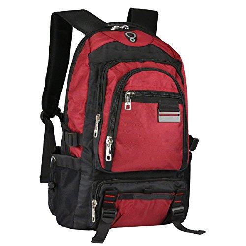 Xin su grande capacità uomini borsa da viaggio borsa studente di scuola media zaino multiuso escursioni borsa sportiva all'aperto borsa da montagna. multicolore,red-34*18*56cm