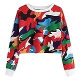 MYMYG Damen Sweatshirt Kapuzenpullover Pullover Hoodie Printed Sweatshirt Langarm Pullover Tops Bluse (E1-rot,EU:34/CN-S)