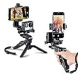 Zeadio ergonomico portatile grip stabilizzatore treppiede selfie stick maniglia Steadycam Kits, compatibile con tutte le fotocamere GoPro e iPhone Samsung e telefoni, 2angoli shooting simultaneamente