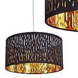 Hängeleuchte Liared aus Samt und Kunststoff – stilvolle Deckenleuchte in Schwarz und Gold – exotische Deckenlampe mit rundem Lampenschirm – Zimmerlampe für Esszimmer – Wohnzimmer – Schlafzimmer – E27