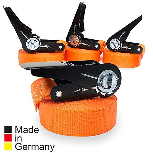 4er Set KFI-Ziegler TÜV-geprüfte Spanngurte mit Ratsche | Länge: 6 m | Ratschengurt einteilig nach EN 12195-2 | Zurrgurte 400/800 kg