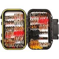FISHINGSIR 64/100/120 Stück Forellen Angel-Fliegen Kunstköder Set - Trockenfliegen, Nassfliegen, Nymphe, Streamer und Emerger Fliegenfischen köder schachtel mit Taschen