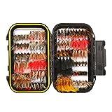 FISHINGSIR 120 Stück Forellen Angeln Fliegen Kunstköder Set- Trockenfliegen, Nassfliegen, Nymph, Streamer und Emerger Fliegenfischen köder mit Angelbox