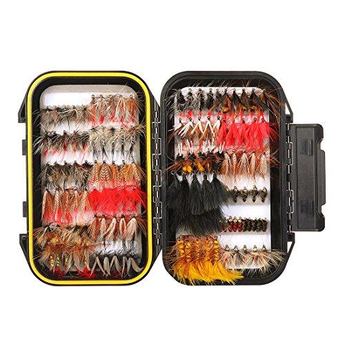 120 Stück Forellen Angeln Fliegen Kunstköder Set- Trockenfliegen, Nassfliegen, Nymph, Streamer und Emerger Fliegenfischen köder mit Angelbox Köder Angeln