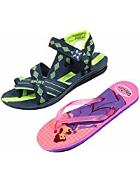 Indistar KRS Men Sandal And Step Care Flip Flop And House Slipper For Women -Set Of 2 Pairs - B072P5SNFD