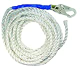 FallTech 8150T Vertical Lifeline, Rope - 5/8 Premium Polyester Rope with 1 Snap Hook and Taped-End, 50, White/Blue by Fa