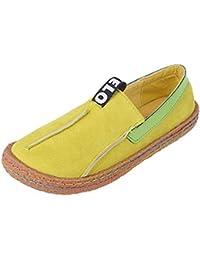 Minetom Mujer Primavera Verano Casual Dulce Guisantes Moda Talón Barco Zapatos Redondos Planos Desliza Plana Mocasines