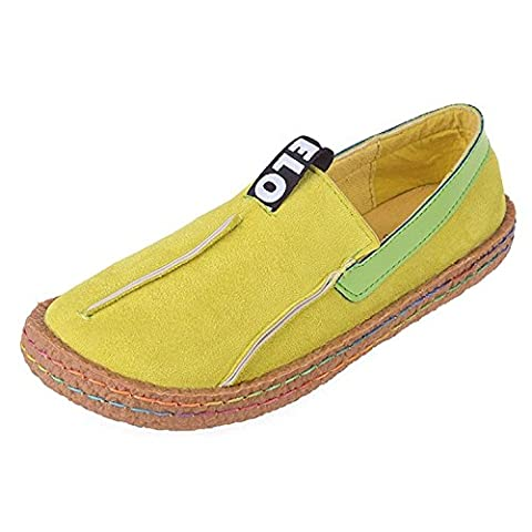 Minetom Women's Summer Comfort Round Toe Suede Penny Loafers Flats Sandals Slip-on Walking Shoes Yellow UK 5