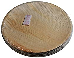 Perfect Disposable Party Plates- Areca leaf plates - Palm leaf plates - 100% Natural eco friendly plates - Bio degradable Round Plate (V005, Natural , 9 Inch) Pack of 20 plates