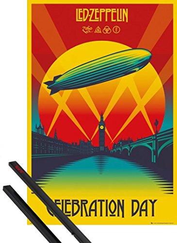 Poster + Sospensione : Led Zeppelin Poster Stampa (91x61 cm) Celebration Day E Coppia Di Barre Porta Poster Nere 1art1®