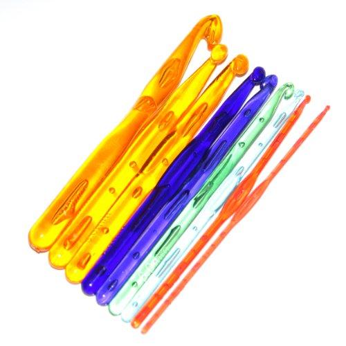 9 Piezas De Multicolores Ganchillos Ganchos De Plástico Agujas De Tejer 3.0 - 12.0mm