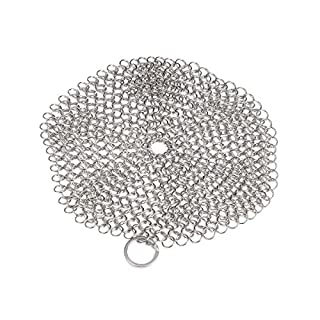 1PC Stainless Steel Cast Iron Cleaner Chainmail Scrubber Scouring Pads for Clean Cast Iron Cookware Pan Wok Dutch Ovens Waffle Iron Pans Scraper Cast Iron Grill Scraper Skillet Scraper