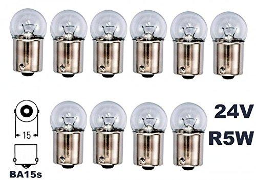 24 Volt - 10 Stück - R 5W - BA15S - 5Watt - Nfz LKW Beleuchtung - Glühlampe, Glaslampe, Glühbirne, Soffitte, Lampen. mit E-Prüfzeichen [STVZO zugelassen] - Hallenwerk