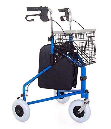 Faltbarer Rollator Tri Walker von Z-Tec (inklusive Korb, Tasche & Tablett!) - wählen Sie Ihre Farbe! (Blau)