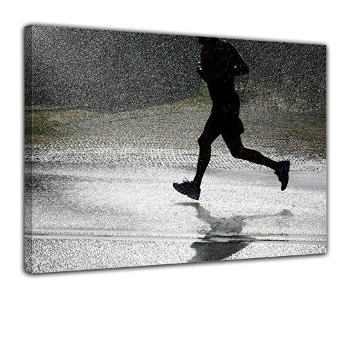 Keilrahmenbild - Running Retro - Bild auf Leinwand - 120x90 cm 1 teilig - Leinwandbilder - Urban & Graphic - Sport - Einsamkeit - Joggen im Regen -