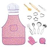ThinkMax 15 Piezas Conjunto De Juego Chef Juegos De Pretexto De Vestuario De Cocina, Delantal De Cocina Con Utensilios Para Niñas (Púrpura)