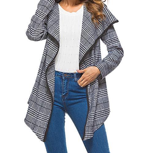 Preisvergleich Produktbild TWBB Damen Trenchcoat, Winter Plaid Rüschen Mantel Outwear Elegant Warm Outwear Jacke Strickjacke Coat