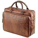 Aktentasche Leder XL Schultertasche Umhängetasche DIN-A4 Laptoptasche Notebooktasche Messenger Bag Cognac Braun