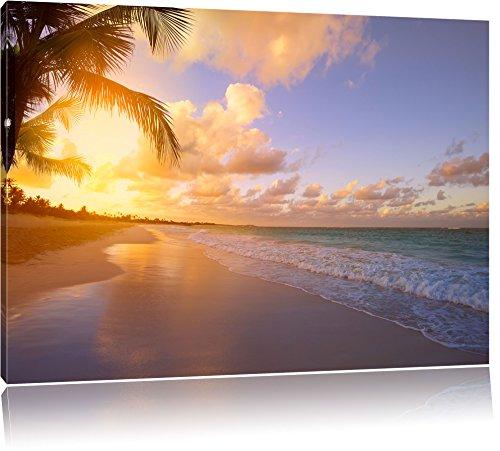Tramonto, mare, sabbia, spiaggia pietre su tela, Immagini XXL completamente incorniciati con telai di grandi (Mare Su Tela)