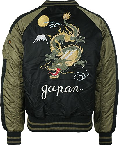 Alpha Industries Japan Dragon Bomberjacke schwarz oliv