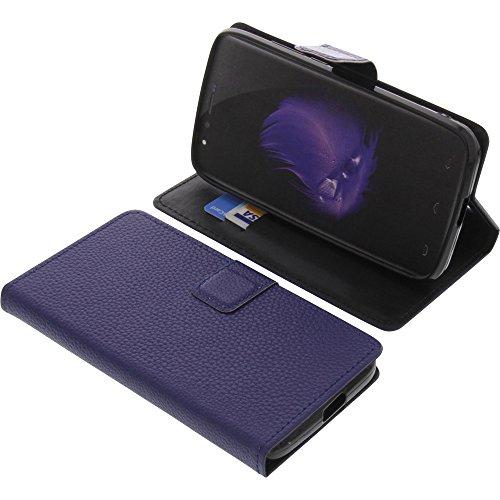 foto-kontor Tasche für HomTom HT50 Book Style blau Schutz Hülle Buch