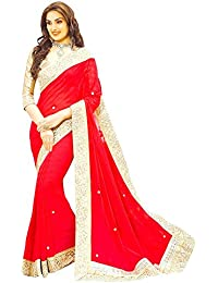 Onlinehub Women's Georgette Border Work Saree With Blouse Piece - ONLINEHUBREDPATTAWITHHANDWORK- M_Red_Free Size